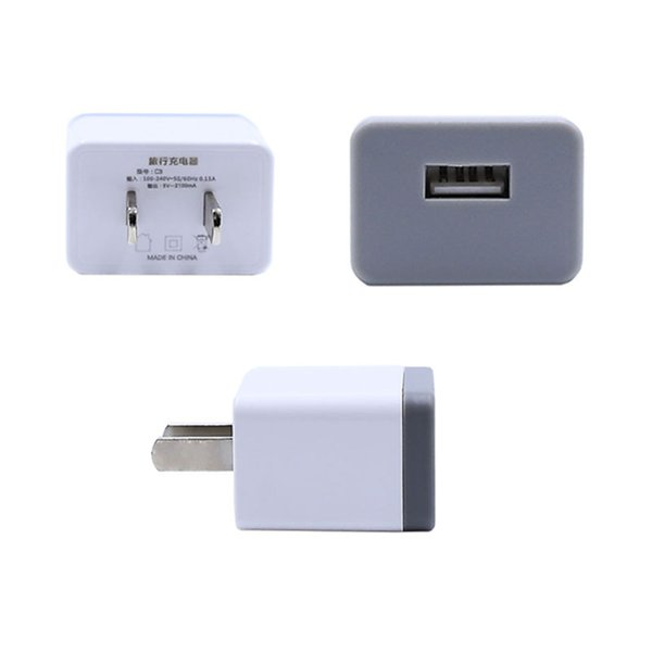 One Port 2100mA USB Charger Travel Charger Adapter US Plug For Mobile Phone And Tablet White Color