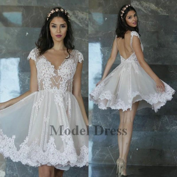2018 Sexy Open Back Little Mini Short Homecoming Dresses Appliques Fitted See Through Sheer Cap Sleeves Sequins Knee Length Prom Gowns