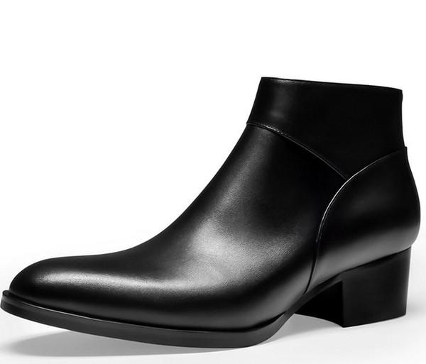 bottes hautes hommes zip cuir
