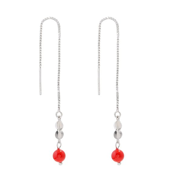 Todo el cuerpo 925 Pure Silver Red Bead Ear Line, dulce y fresco Temperament Estilo largo Eardrop Japanese Korean Female Jewelry