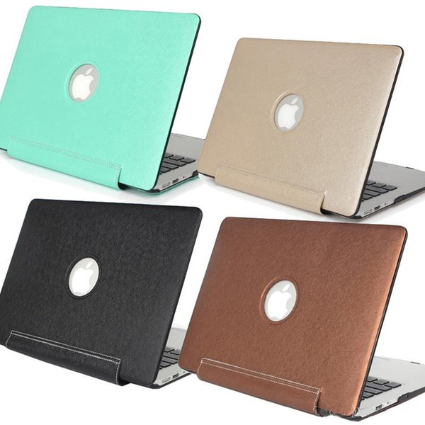 High Quality Silk Pattern PU Leather Skin Hard Cover Case For Macbook Air Pro Retina 11 12 13 15 inch with Logo Hole