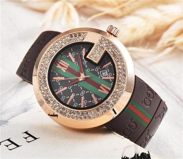 Newest Hot Sell Fashion Ladies Quartz Watch Double row drill crystal dial Silica Gel Strap Luxury Men Women Quartz watches