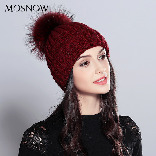 Winter Beanie Natural Raccoon Fur Pom Poms Hat Female Elegant Wool Knitted 2018 Brand New Women's Hats Skullies Beanies #MZ701 Y18110503