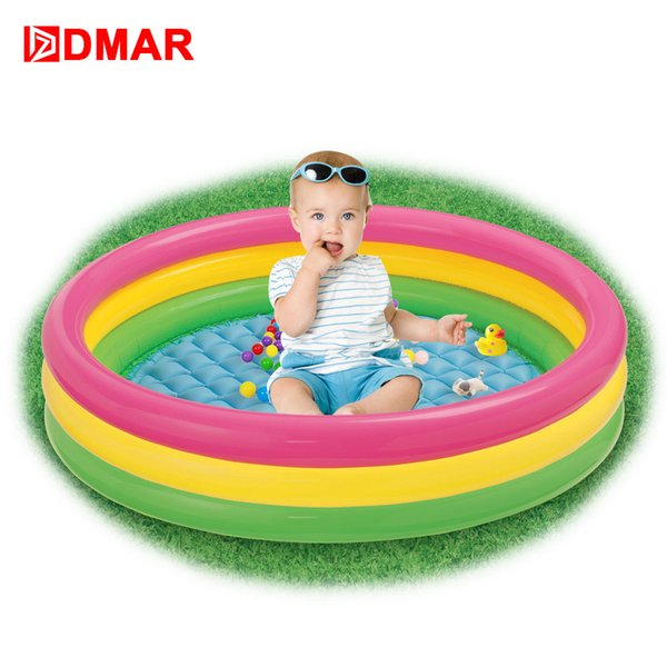 DMAR Rainbow Inflatable Pool for Kids Infants Baby 3 Sizes Swimming Pool Float Summer Water Toys Bathing Outdoor Durable