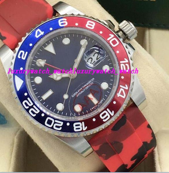 Relojes de lujo 2 Estilo II 116719 Oro blanco Azul Rojo 24Hr Bisel de cerámica Pulsera de caucho 40mm Reloj automático de pulsera de los hombres de la marca