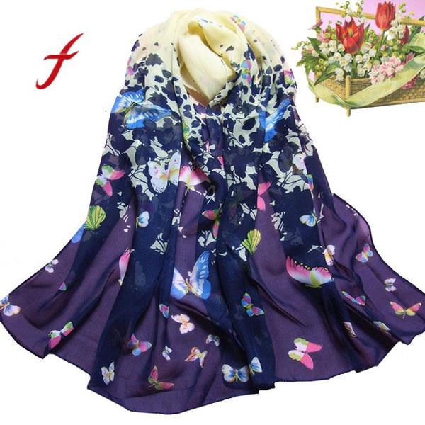 FEITONG Sciarpa femminile Moda Donna Farfalla Stampata Fiore Morbido Silenziatore Chiffon Sciarpa Scialle dell'involucro Nuova primavera di alta qualità Scarve