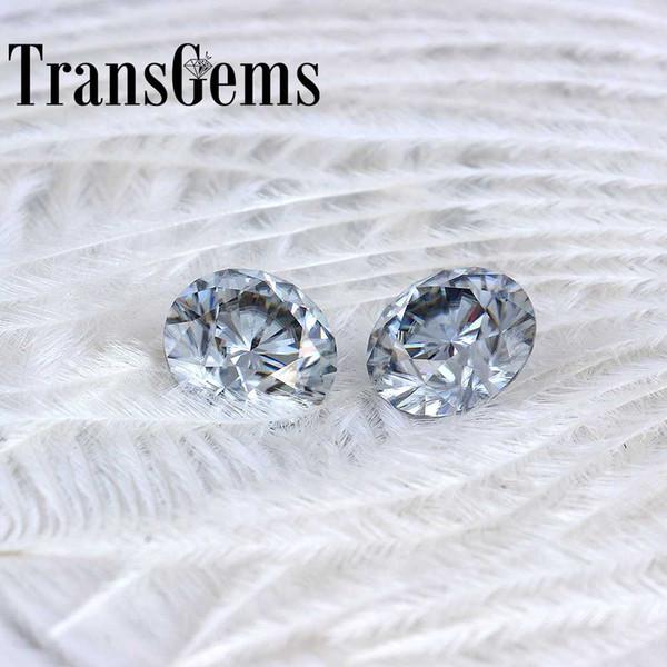 TransGems 8mm 2Carat grey Color Certified Man made Diamond Loose Moissanite Bead Test Positive As Real Diamond Gemstone 1pcs