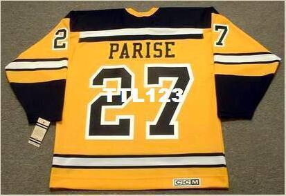 Mens # 27 J. PARTE Boston Bruins 1966 CCM Vintage Retro Hóquei Jersey ou personalizado qualquer nome ou número retro Jersey