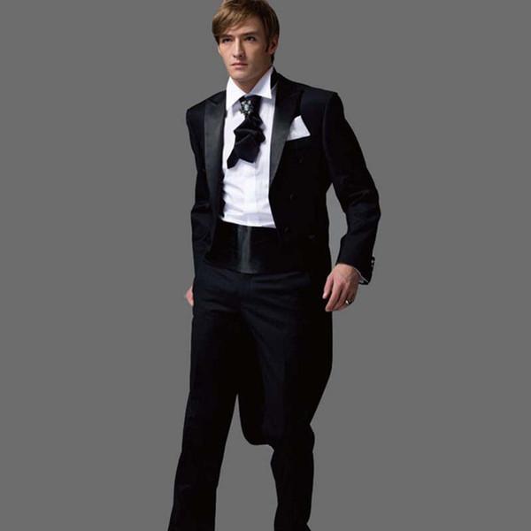 2017 new Black Tuxedos With Long Blazer Latest Coat Pant Designs Mens Suit Marriage Wedding Suits For Men (Jacket+Pants+Bow)