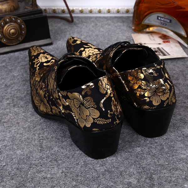 Mode Retro Pointu Fleur Imprimé En Cuir Flats Hauteur de Chaussures Augmentant 7cm Mi-Slip Slip Sur Chaussures Taille 12 Hommes Chaussures