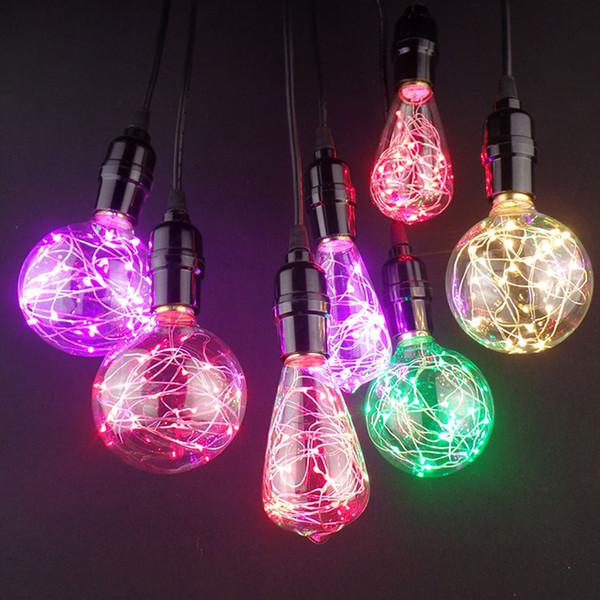 New! E27 Decor Light LED RGB Edison Starry Fairy String Colorful Light Bulb AC220V Christmas Retro Xmas For Living Room Bedroom
