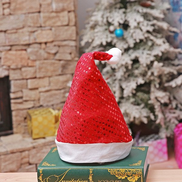 Wholesale Plush Christmas Hat Sequins Christmas Decorations Santa Claus Hat Christmas Ornaments For Adult With OPP Bag 200pcs PCH2