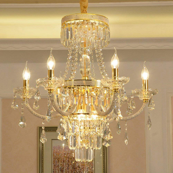 Modern Clear K9 Crystal Candle Crystal Lamp Chandelier Ceiling Lights Pendant Lamps For Restaurant Living Room Bedroom With LED Bulbs