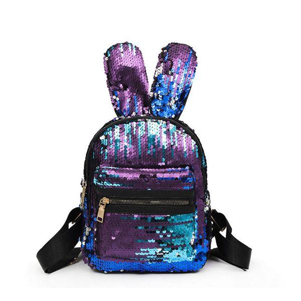 Epacket transporte Shinning Bling Lantejoulas Bonito Grande Orelhas de Coelho Mochila para Adolescente Meninas mochila Shoulderbag Mulheres Mini Sacos de Viagem de Esportes