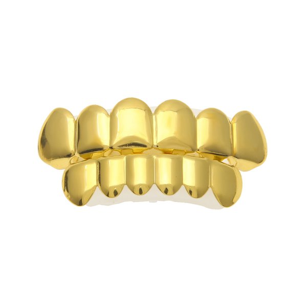Hip Hop 6 tooth grillz Gold Filled Top & Bottom Teeth grills Set For women&men s Rapper Halloween Christmas Party Body Jewelry