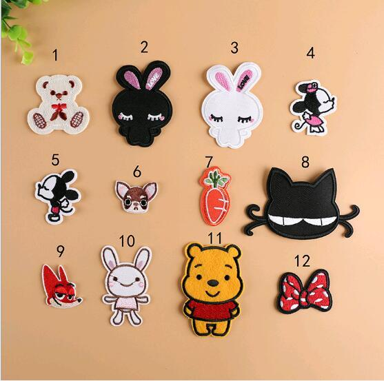 Teddy Bear cartoon children clothes embroidered flowers patch stickers decorated clothes