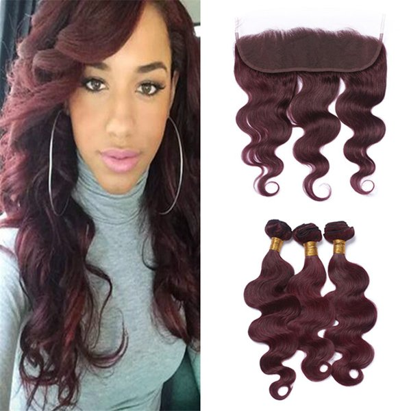 Virgin Brazilian Burgundy Human Hair Weave Bundles with Lace Frontal Closure #99J Wine Red Body Wave Hair Wefts with Full Frontals