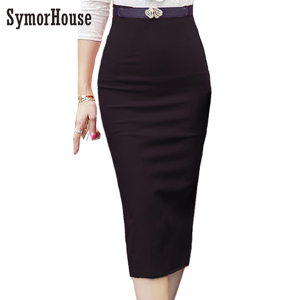 5aaf9e2af1 Hot Pencil Skirt Women Plus Size Bodycon Fashion High waist elastic Women  Skirt Red Black Slit