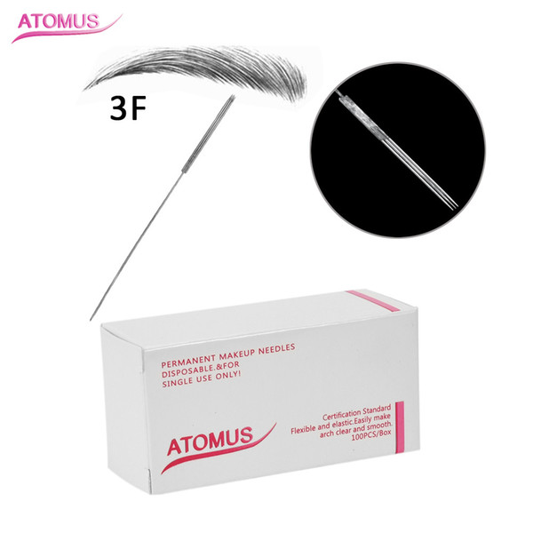 3F Sterilized Disposable Tattoo Needle Professional Permanent Makeup Needle for Eyeliner Lips Eyebrow 3D Embroidery 304 Tattoo Tips