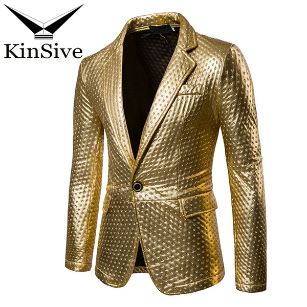 Suit Jackets Men Dot Embossing Gold Silver Black Casual Blazer Spring Brand Male Fashion Stage Perform Costumes For Singers Coat