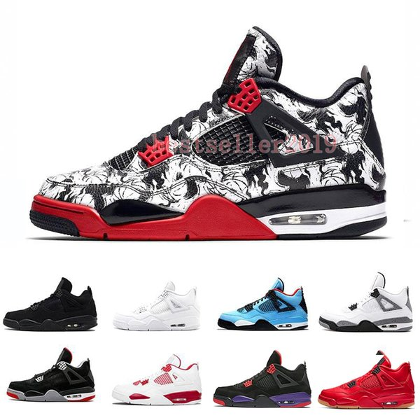 Tattoo 4 Singles Day 4s Men Basketball Shoes Pure Money Premium Black Cat white cement Bred Fire red Alternate Sports Trainers Sneakers 8-13