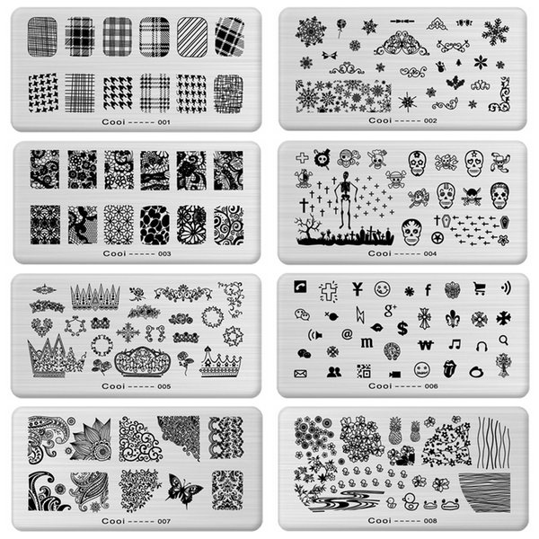 1 x New Designs Cooi Series Stamping Nail Art Image Plates Stainless Steel Template Polish Manicure Stencil Tools 10 Designs