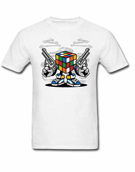 Rubix Cube T-shirt Guns attitude shooter melted cube 80s  90s 00s gamer funny