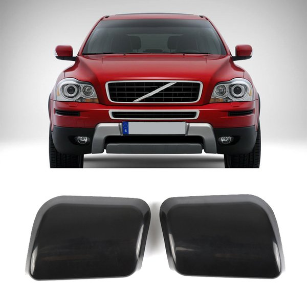 High Quality 1 Pair Front Bumper Headlamp Headlight Washer Jet Nozzle Cover Cap for VOLVO XC90 2002-2006 black