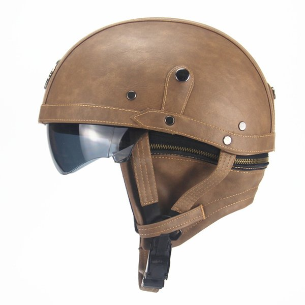 New Arrival Women and Men Vintage PU Leather Half Face Motorcycle Helmet Retro Moto Halley Full Face Punk Helmets Dot Approved