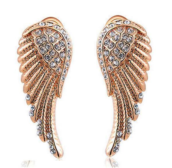 whole saleWonderful Jewelry High Quality Angel Wings Rose Gold Filled Glowing Austrian Crystal Stud Luxury Women Earrings