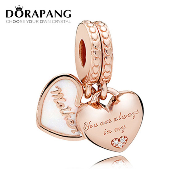 DORAPANG 100% 925 Sterling Silver Original Rose Mother and Daughter Hearts Hanging Charm Pendant Women Jewelry Fit DIY Bracelet