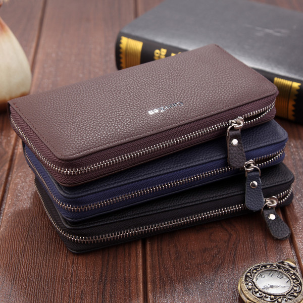 High Quality PU Leather Men Wallets Long Zipper Wallet 2018 Business Male Clutch Coin Purse Card Holder Wallet Big Capacity