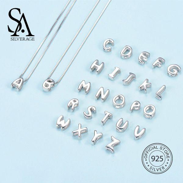 SA SILVERAGE Real 925 кулон с английским алфавитом для женщин без цепочки 925 серебряных кулонов 26 английских букв 2018 Новый