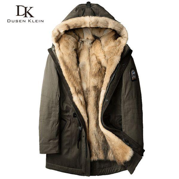 Erkekler için kurt kürk Kalın ceketler uzun paltolar Tasarımcı fashin seyahat kış üstesinden gelmek için Sıcak lüks kapüşonlu ceketler 61E1125