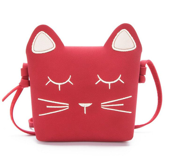 Lovely Kids Girls PU Tassel Small Cat Shoulder Messenger Bag Purses Y