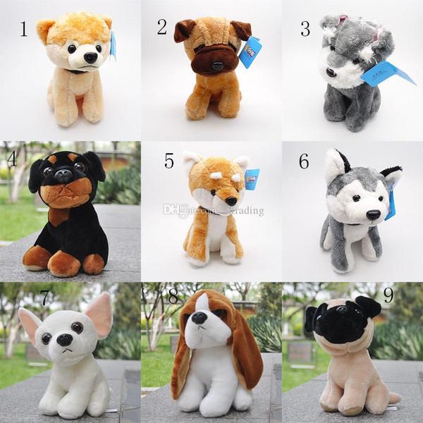 7 pulgadas lindo perro de peluche muñeca de peluche suave juguete animal Husky Pug perro de peluche animales de peluche de juguete regalo de los niños 11 estilos C4204