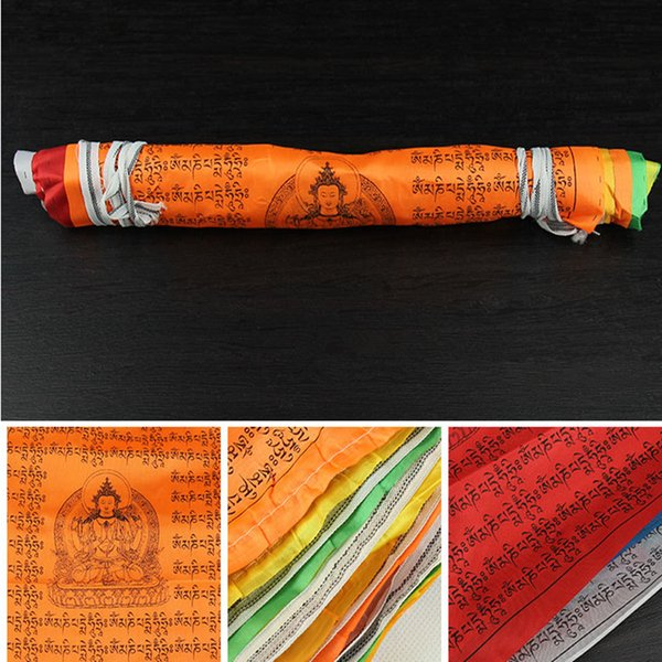 5 Meters Tibetan Suppliers Print 7 Colors Elements 21 Faces/string Silk Cloth SiX Words Mantra Guanyin Scripture Hanging Wind Horse Flag