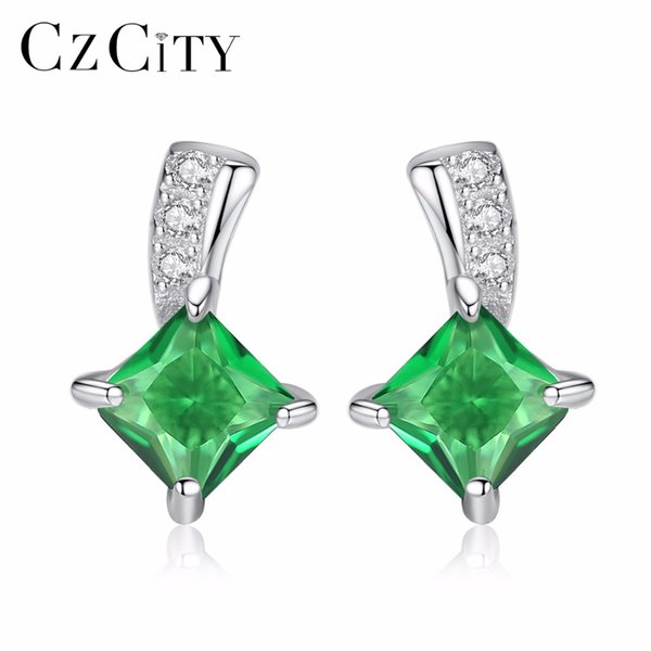 CZity marka sevimli yeşil kare kübik zirkonya kristal gümüş küpe bayan küçük damızlık zümrüt küpe kadınlar için güzel takı