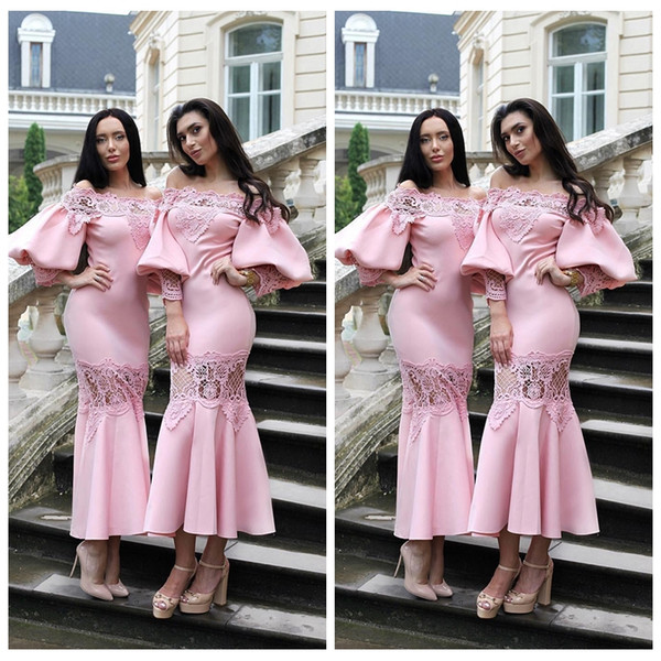 2019 Custom Slim Juliet Sleeves Tea Length Pink Bridesmaid Dresses Lace Appliques Formal Prom Party Gowns Short Maid of Honor Ladies Wear
