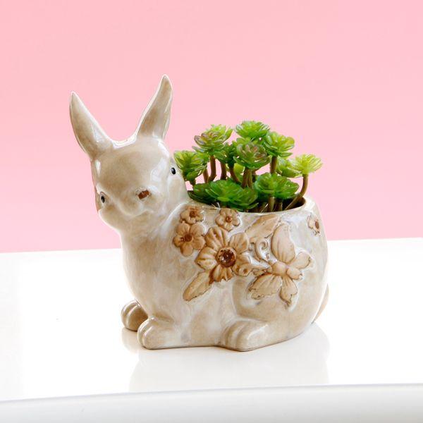 Flower Vase Vintage Style Cute Lovely Cartoon Rabbit Decorative ...