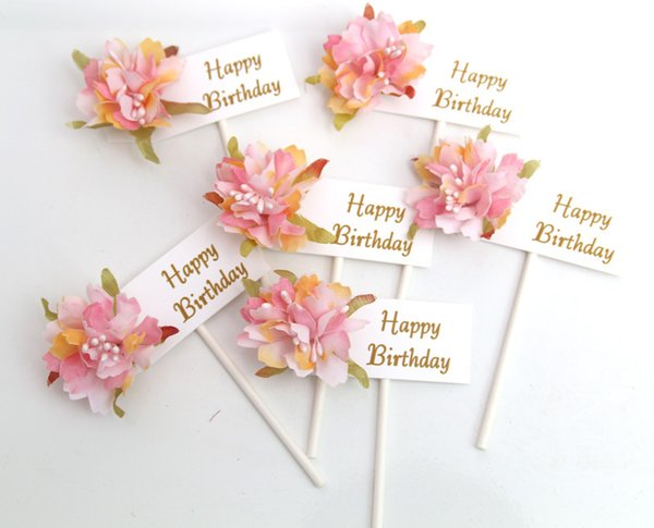 New Arrival Multi-color Cupcake Cake Happy Birthday Topper Flowers Cake Flags For Wedding Party Baking Decoration Supplies