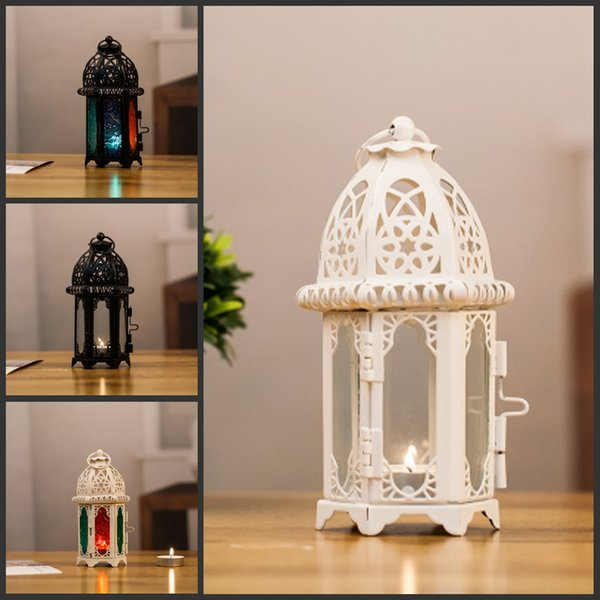10Pcs/lot Europe style white black color Morocco Iron Lantern Candle Holder For Wedding Favors Gift Home Decorations Supplies