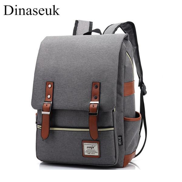 Dinaseuk Vintage Backpack College Shoulder Bag Daypacks for Laptop 14-15 Inch Notebook Computer Bags Men Women School Rucksack