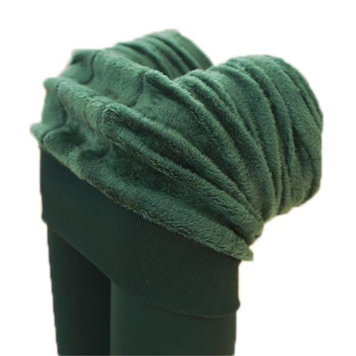 SYB 2016 NEW AutumnWinter épaississement avec velours Trample pieds chaud intégration sans soudure de pantalon Leggings One Size Vert foncé