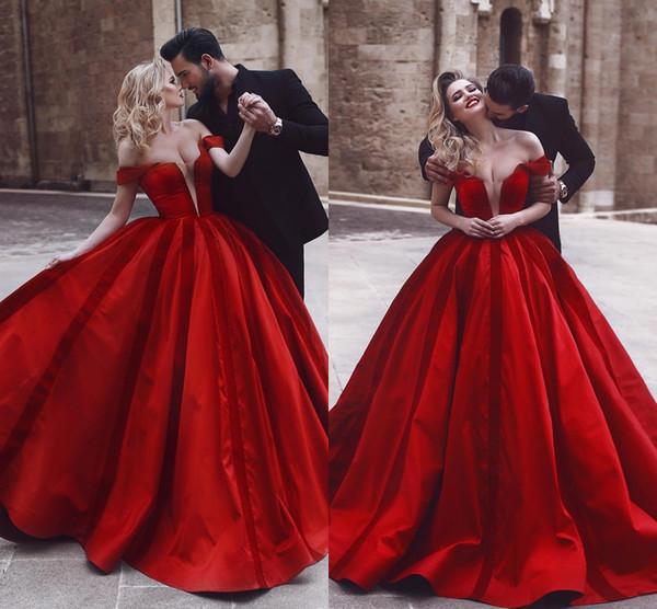 Compre Vestidos De Noche Largos Rojos Elegantes De La Manga Del Casquillo De La Manga Del Piso Vestidos De Noche Del Satén De Las Mujeres Formales