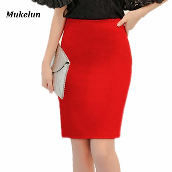 Mode Été 2018 Femmes Jupe Noir Plus La Taille Taille Haute Travail Mince Crayon Jupe Rouge Ouvert Fourche Sexy Bureau Lady Jupes Femme D1891705