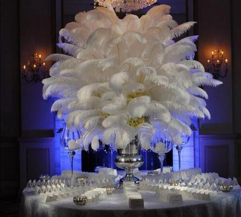 Pluma de avestruz blanca natural de 50 piezas 25-30 cm / 10 a 12 pulgadas Plumas Decoración de la boda Performance Art Plume