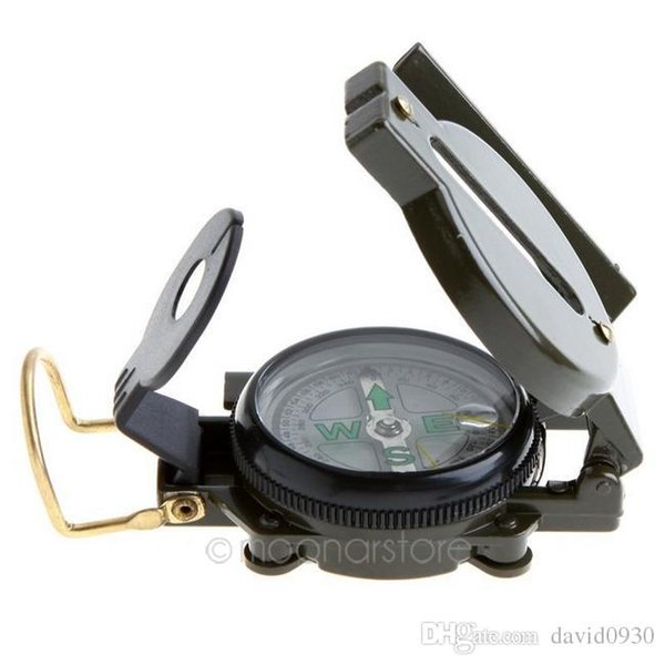Mini Military Lensatic Watch Pocket Compass Magnifier Army Green For Camping Hunting Marching, Free Shipping Wholesale HM351