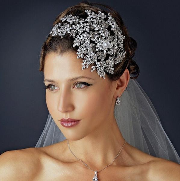 luxe plein cristal bandeaux argent feuille cristal mariage diadème couronne alliage reine de la mariée princesse couronne cheveux accessoires X912