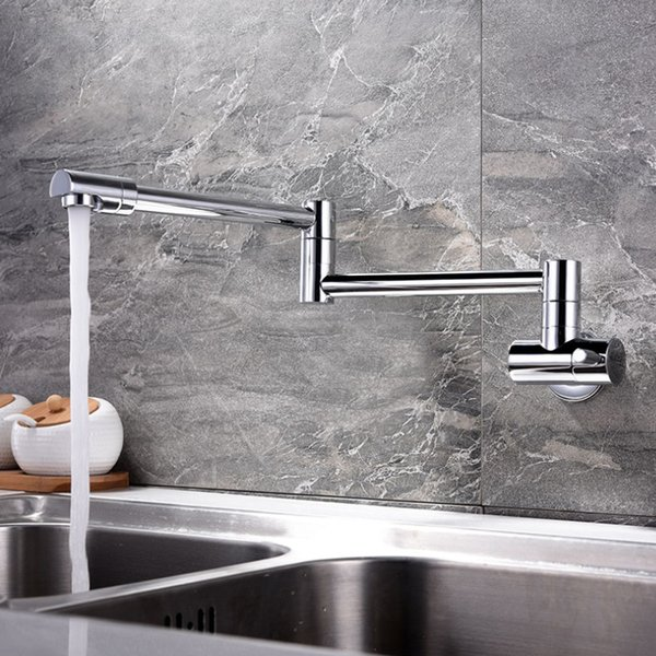 Folding Single Kitchen Faucet Sink Water Pot Filler Faucet Single Cold Water Wall Mounted Tap Brass Faucets Chrome Brushed Taps